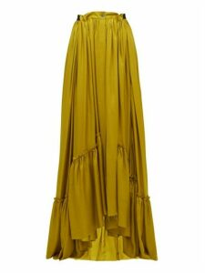 Ann Demeulemeester - Nanette Ruffled Satin Maxi Skirt - Womens - Dark Yellow
