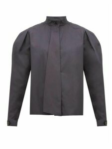 Lemaire - Box Pleat Drape Tie Cotton Blouse - Womens - Dark Grey