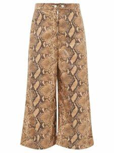 Ellery - Nuance Snakeskin-effect Wide-leg Cropped Trousers - Womens - Camel
