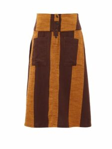 Ace & Jig - Maisie Patch-pocket Striped Cotton Midi Skirt - Womens - Brown Multi