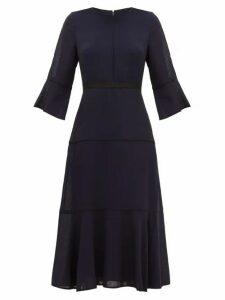 Cefinn - Flared-cuff Panelled Muslin Midi Dress - Womens - Navy