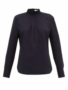 Cefinn - Box-pleat Muslin Blouse - Womens - Navy