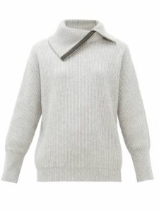 Brunello Cucinelli - Embellished Roll Neck Cashmere Sweater - Womens - Light Grey