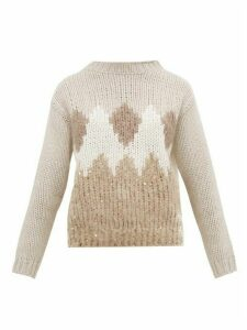 Brunello Cucinelli - Pattern Intarsia Virgin Wool Blend Sweater - Womens - Beige Multi