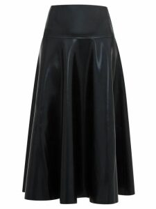 Norma Kamali - Flared Coated-jersey Midi Skirt - Womens - Black