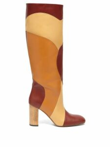 Ssone - Tina Knee-high Patchwork-leather Boots - Womens - Burgundy Multi