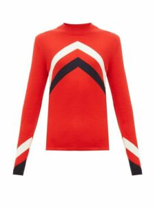 Perfect Moment - Chevron-intarsia Merino-wool Sweater - Womens - Red