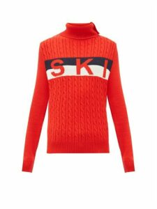 Perfect Moment - Ski Jacquard Cable Knit Wool Sweater - Womens - Red