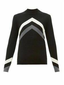 Perfect Moment - Chevron-intarsia Merino-wool Sweater - Womens - Black