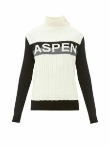 Perfect Moment - Aspen-jacquard Cable-knit Wool Sweater - Womens - Grey