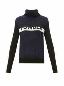 Perfect Moment - Powder-intarsia Cable-knit Wool Sweater - Womens - Navy