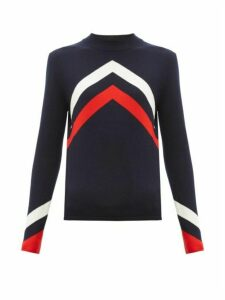 Perfect Moment - Chevron-intarsia Merino-wool Sweater - Womens - Navy