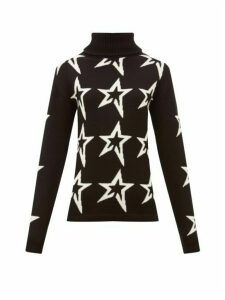 Perfect Moment - Stardust Star Intarsia Roll Neck Wool Sweater - Womens - Black Print