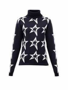 Perfect Moment - Stardust Star Intarsia Roll Neck Wool Sweater - Womens - Navy Print