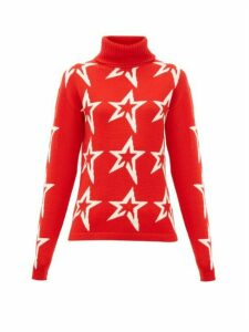 Perfect Moment - Stardust Star-intarsia Roll-neck Wool Sweater - Womens - Red Print