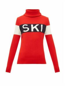 Perfect Moment - Ski Intarsia Roll Neck Wool Sweater - Womens - Red
