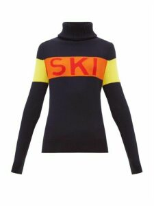 Perfect Moment - Ski Intarsia Roll Neck Wool Sweater - Womens - Navy