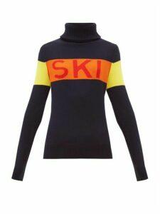 Perfect Moment - Ski-intarsia Roll-neck Wool Sweater - Womens - Navy