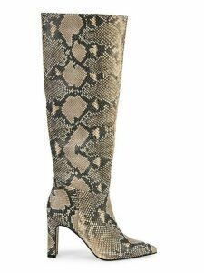 Snakeskin-Print Tall Boots