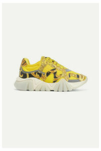 Versace - Squalo Printed Leather And Mesh Sneakers - Yellow