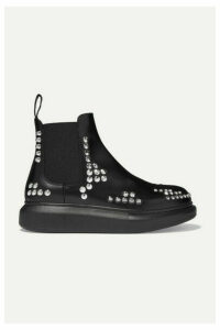Alexander McQueen - Studded Glossed-leather Exaggerated-sole Chelsea Boots - Black