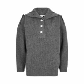Stella McCartney Grey Panelled Wool Jumper