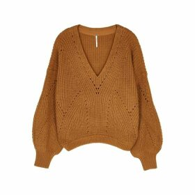 Free People All Day Long Brown Cotton-blend Jumper