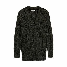 Equipment Jeannane Black Wool-blend Cardigan