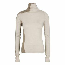 Mark Kenly Domino Tan Ivory And Stone Panelled Wool Jumper