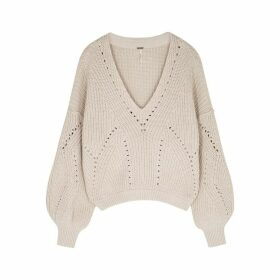 Free People All Day Long Ivory Cotton-blend Jumper