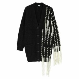 Loewe Black Fringed Wool-blend Cardigan