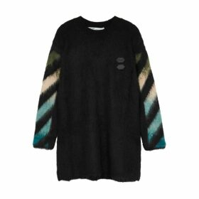 Off-White Black Logo-intarsia Wool-blend Jumper