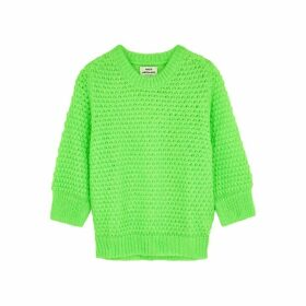 MADS NORGAARD Signal Kranola Neon Green Textured-knit Jumper