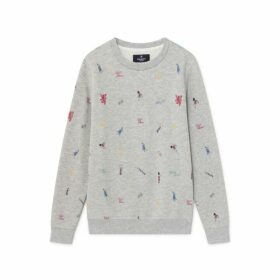 Hackett London Icons Print Cotton Blend Crew Neck Sweater