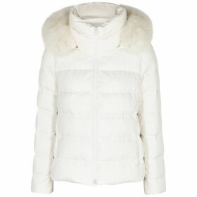 Herno White Fur-trimmed Quilted Shell Jacket