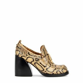 Chloé 100 Python-effect Leather Loafers