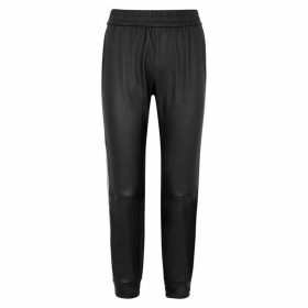 SPRWMN Black Striped Leather Sweatpants