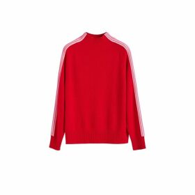Chinti & Parker Red Ripple Wool-cashmere Turtleneck Sweater