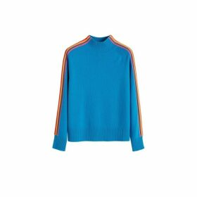 Chinti & Parker Turquoise Ripple Wool-cashmere Turtleneck Sweater