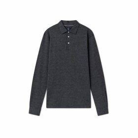 Hackett Cotton And Linen Blend Long-sleeved Polo Shirt