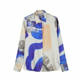 Mark Kenly Domino Tan Bertine Printed Silk Shirt