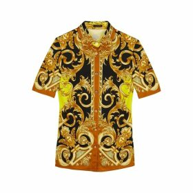 VERSACE Baroque-print Stretch-satin Shirt
