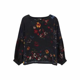 HIGH Request Floral-print Satin Blouse