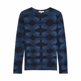 Vince Blue Tie-dyed Cotton-blend Top