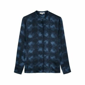 Vince Blue Tie-dyed Silk Blouse