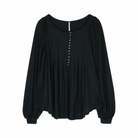 Free People Devin Black Textured Top