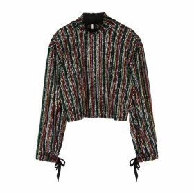 Free People Midnight City Striped Sequin Top