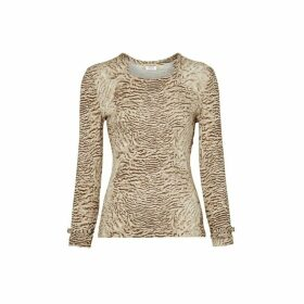 Burberry Astrakhan Print Stretch Jersey Top