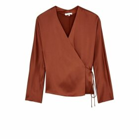 Vince Burnt Orange Silk Wrap Blouse