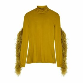 Proenza Schouler Olive Feather-trimmed Stretch-jersey Top